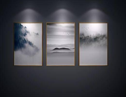 中式, 挂画, 山水画, 水墨画