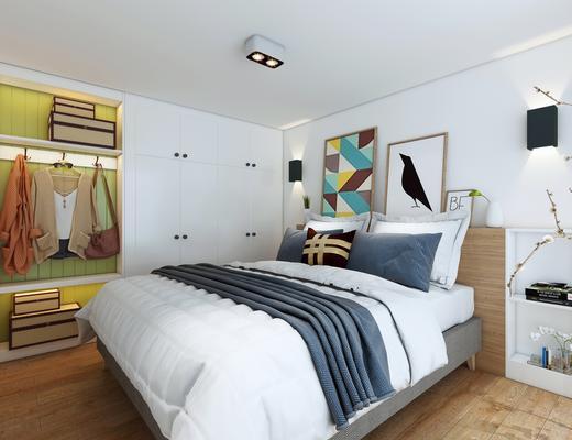 北欧, 现代, 卧室, 现代卧室, 床, 装饰画, 衣柜