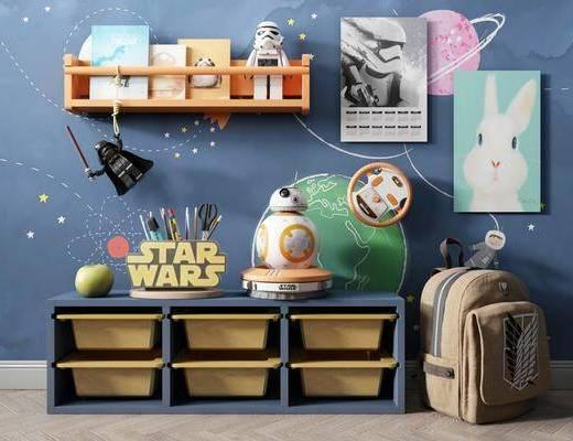 儿童用品, 置物柜, 墙饰, 背景墙