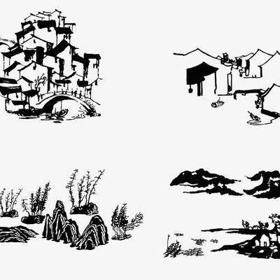 中式, 墙绘, 水墨