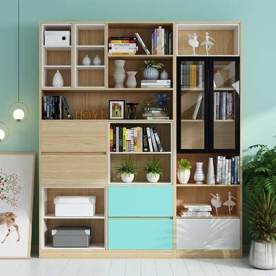 书柜, 书架, 装饰柜, 书籍, 摆件组合, 吊灯, 盆栽, 绿植植物, 北欧