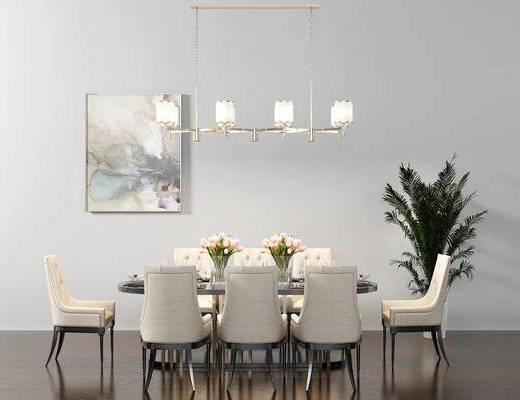 餐桌, 餐椅, 单人椅, 装饰品, 陈设品, 装饰画, 挂画, 绿植, 盆栽, 吊灯, 现代