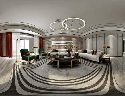 现代客厅, 轻奢客厅, 客厅