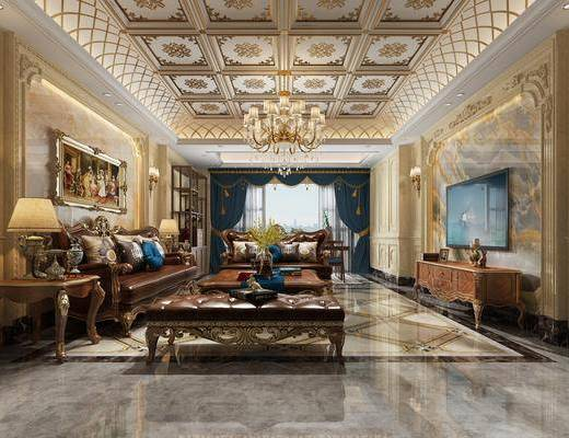 欧式客厅, 欧式沙发, 沙发组合, 沙发茶几组合