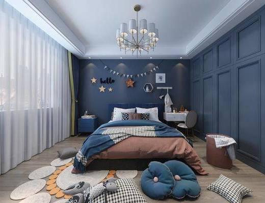 现代, 简约, 卧室, 双人床