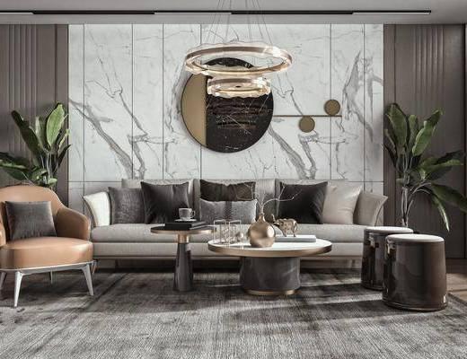 多人沙发, 茶几, 墙饰, 绿植, 摆件
