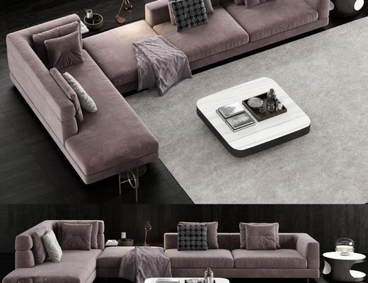 现代布艺, 转角多人沙发, 边几, 沙发, 现代沙发, 北欧沙发