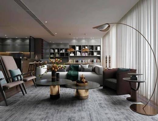 沙發組合, 茶幾, 落地燈, 單椅, 桌椅組合, 書柜