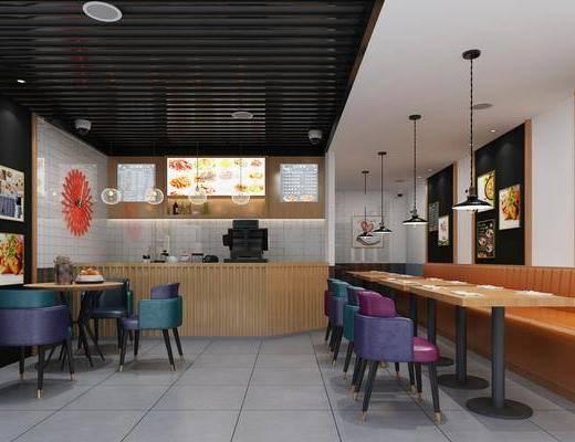 现代休闲餐厅, 桌椅组合, 前台接待, 现代