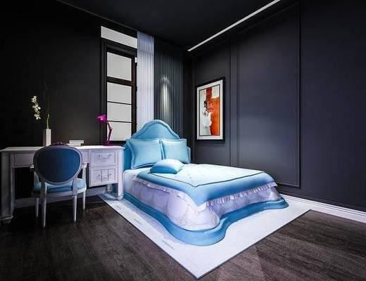 双人床, 书桌, 单人椅, 装饰画, 挂画, 装饰品, 陈设品, 台灯, 欧式