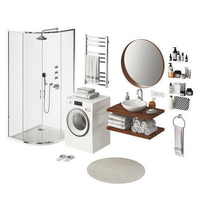 浴室, 洗衣机, 卫浴架, 洗手台, 镜, 沐浴间, 毛巾, 卫浴小件, 洗浴, 洗漱用品, 卫浴用品, 现代