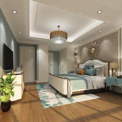 卧室, 双人床, 床头柜, 壁灯, 边柜, 吊灯, 墙饰, 美式