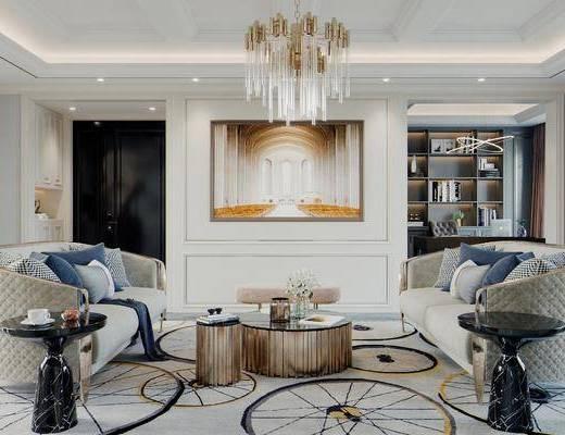 沙发组合, 茶几, 摆件组合, 吊灯, 装饰画, 壁炉, 地毯, 旋转楼梯