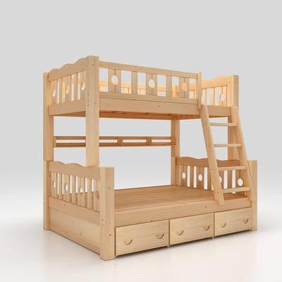 床, 儿童床, 双层床, 实木床