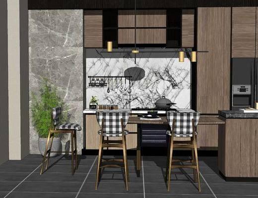 餐桌, 单椅, 吊灯, 橱柜组合