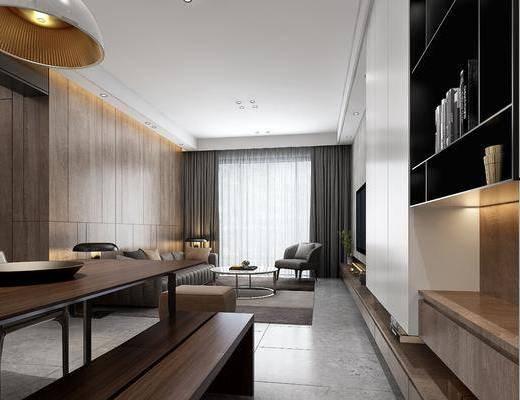 客厅, 餐厅, 多人沙发, 茶几, 边几, 台灯, 单人沙发, 餐桌, 餐椅, 单人椅, 吊灯, 现代