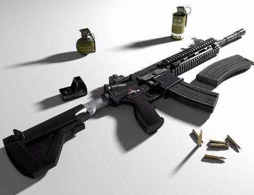 突击步枪, 手雷, 烟雾弹, 全息瞄准镜