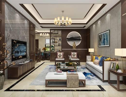 新中式客餐厅, 沙发组合, 餐桌椅组合, 新中式吊灯, 屏风, 电视柜