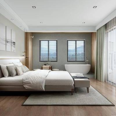 现代卧室, 现代, 卧室, 床, 床头柜, 装饰画, 窗户, 窗帘, 浴缸