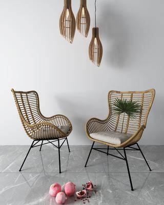吊灯, 单椅, 休闲椅, 藤椅
