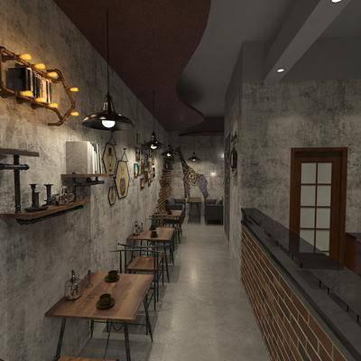 咖啡厅, 桌椅组合, 置物架, 吊灯组合, 挂画组合, 工业风