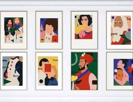 人物, 抽象, 艺术, 组合画, 装饰画, 挂画组合