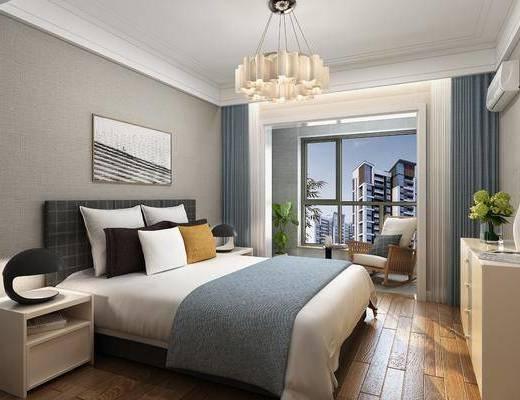 臥室, 床具組合, 擺件組合, 吊燈, 現代