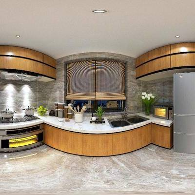厨房, 洗手台, 冰箱, 微波炉, 厨房用品, 现代