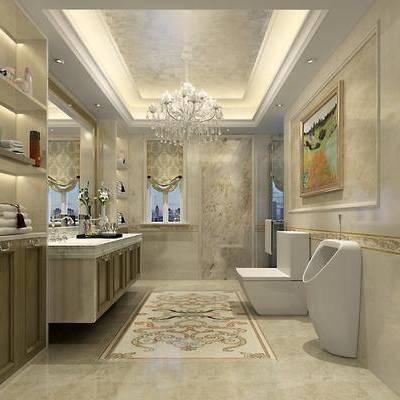 卫生间, 洗手台, 镜子, 装饰画, 吊灯, 便器, 毛巾架, 欧式, 简欧