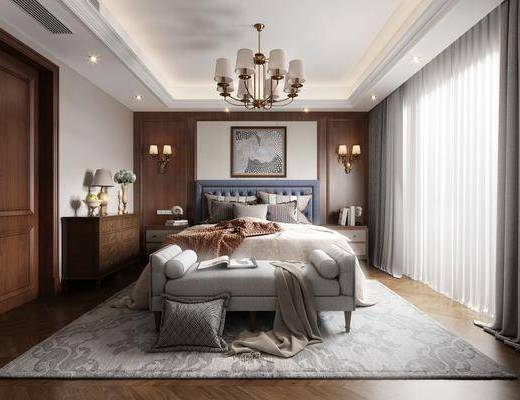 双人床, 边柜, 摆件组合, 装饰画, 吊灯, 床尾踏