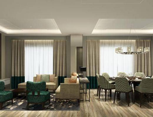 客厅, 餐厅, 多人沙发, 双人沙发, 茶几, 单人沙发, 边几, 台灯, 吊灯, 餐桌, 圆桌, 单人椅, 装饰画, 挂画, 餐具, 现代