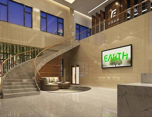 接待处, 楼梯, 前台, 多人沙发, 圆弧沙发, 茶几, 吊灯, 人物, 现代