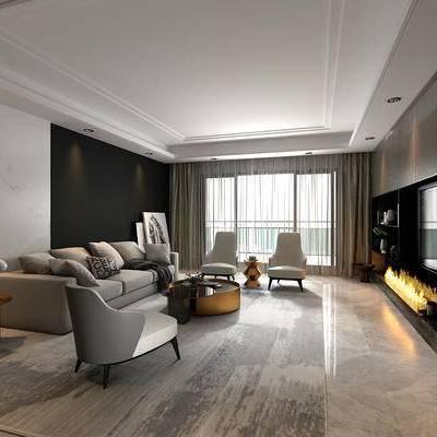 客厅, 多人沙发, 单人沙发, 茶几, 边几, 台灯, 装饰画, 现代