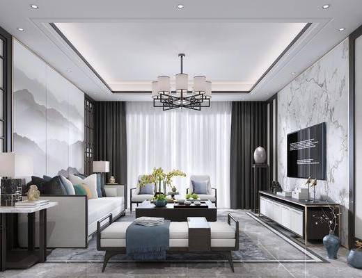 客厅, 沙发组合, 沙发茶几组合, 边柜组合, 新中式