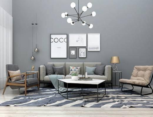现代沙发茶几组合, 布艺沙发, 多人沙发, 组合沙发, 吊灯, 装饰画, 单人椅, 现代
