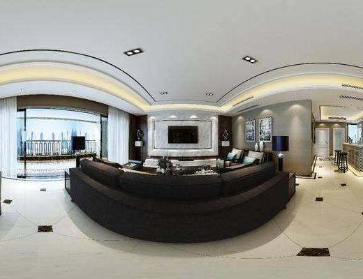 客厅, 餐厅, 现代客餐厅, 沙发组合, 全景图, 现代, 茶几, 桌椅组合