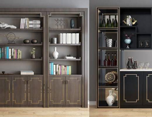 展柜, 装饰柜, 边柜, 书籍, 摆件, 中式