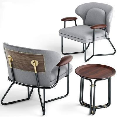 单椅, 休闲椅, 边几, 组合, 现代
