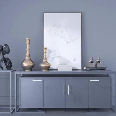 装饰柜, 挂画, 摆件, 现代