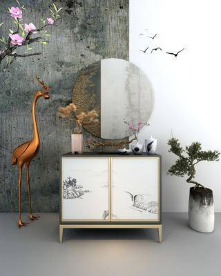 装饰柜, 边柜, 盆栽, 绿植植物, 花卉, 花瓶, 摆件, 装饰品, 陈设品, 新中式