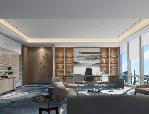 现代办公室, 书桌, 多人沙发, 边柜, 茶几, 单椅, 书柜, 现代