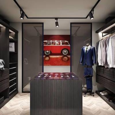 现代, 衣帽间, 服饰, 展示柜