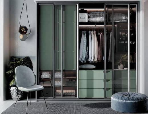 现代衣柜, 现代单椅, 现代盆栽, 现代吊灯, 衣服