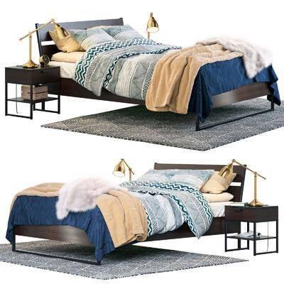 床具组合, 双人床, 现代双人床, 床头柜