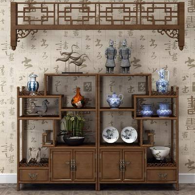 博古架, 装饰柜, 摆件组合, 中式