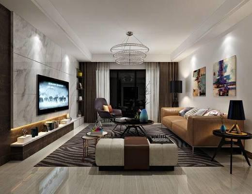 现代客厅, 餐厅, 现代, 客厅, 沙发组合, 餐桌椅组合, 多人沙发, 单人沙发, 电视柜, 吊灯