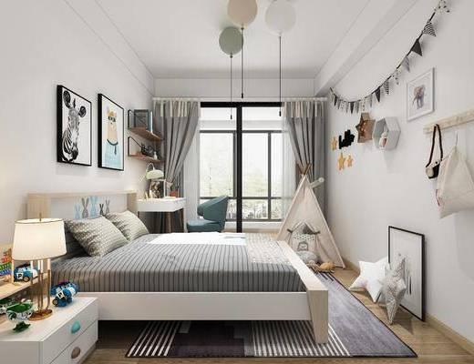 儿童房, 卧室, 双人床, 床尾凳, 台灯, 装饰画, 挂画, 单人椅, 书桌, 墙饰, 帐篷, 玩具, 装饰品, 陈设品, 现代