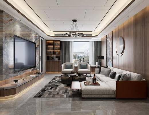 客厅, 餐厅, 现代客餐厅, 沙发组合, 茶几, 摆件组合, 单椅, 植物盆栽, 桌椅组合