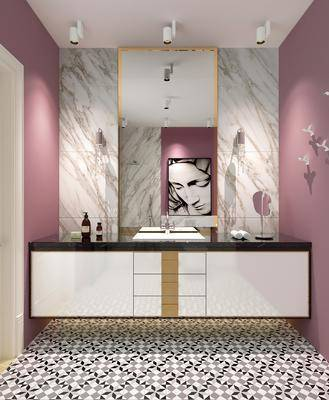 現代衛生間, 洗手臺, 壁鏡
