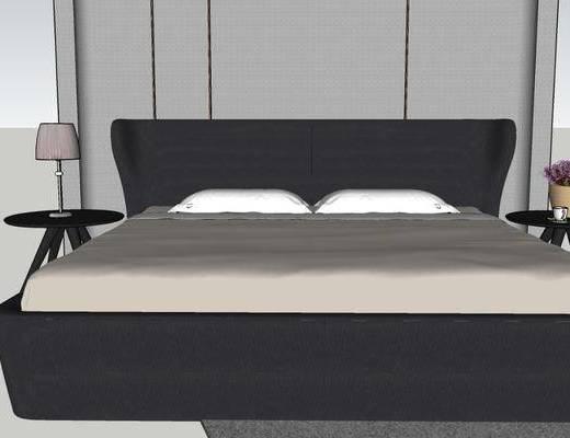 双人床, 床具组合, 边几, 摆件